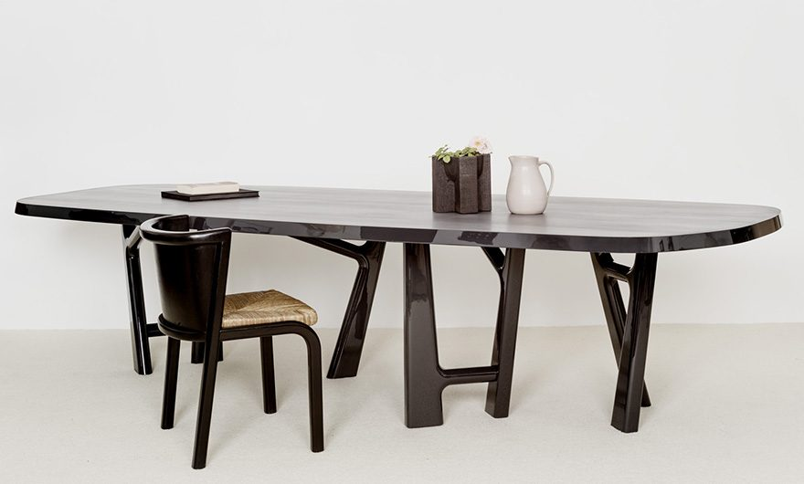 YBU-table-lacquered wood-maple-FAY-chair low